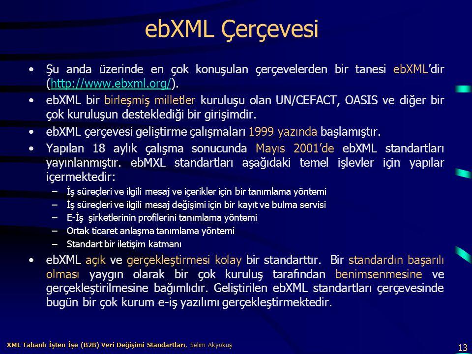 13 XML Tabanlı İşten İşe (B2B) Veri Değişimi Standartları, Selim Akyokuş XML Tabanlı İşten İşe (B2B) Veri Değişimi Standartları, Selim Akyokuş ebXML Ç