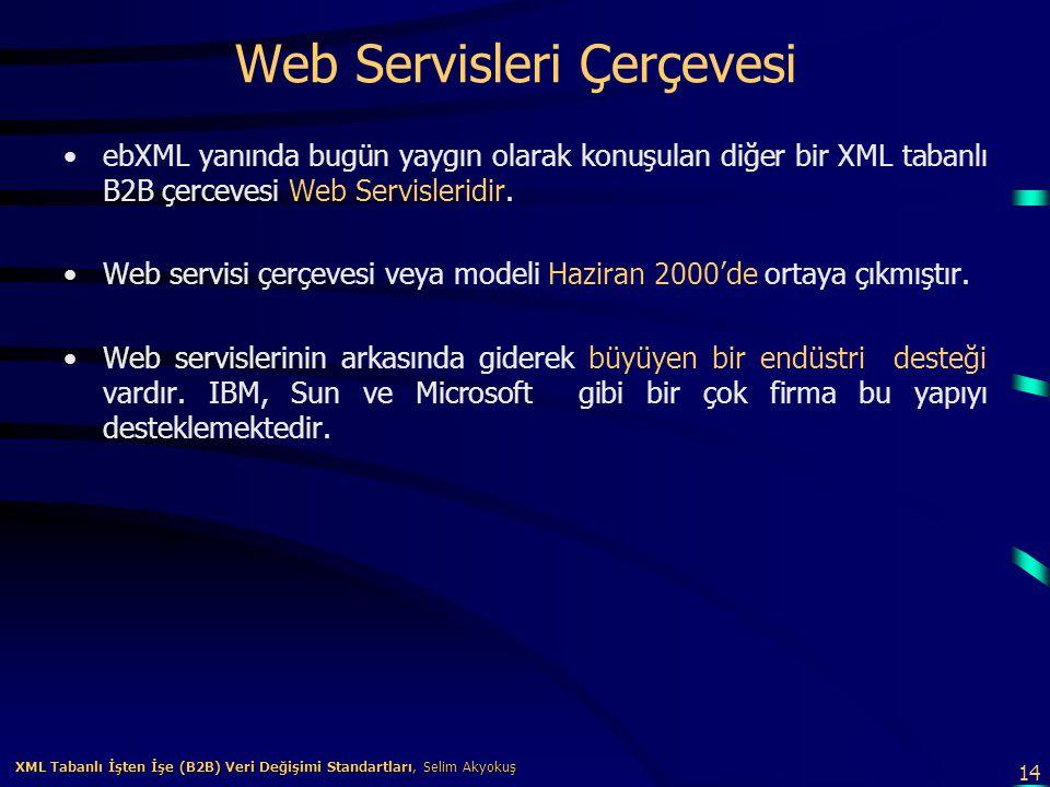14 XML Tabanlı İşten İşe (B2B) Veri Değişimi Standartları, Selim Akyokuş XML Tabanlı İşten İşe (B2B) Veri Değişimi Standartları, Selim Akyokuş Web Ser