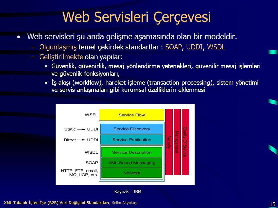 15 XML Tabanlı İşten İşe (B2B) Veri Değişimi Standartları, Selim Akyokuş XML Tabanlı İşten İşe (B2B) Veri Değişimi Standartları, Selim Akyokuş Web Ser