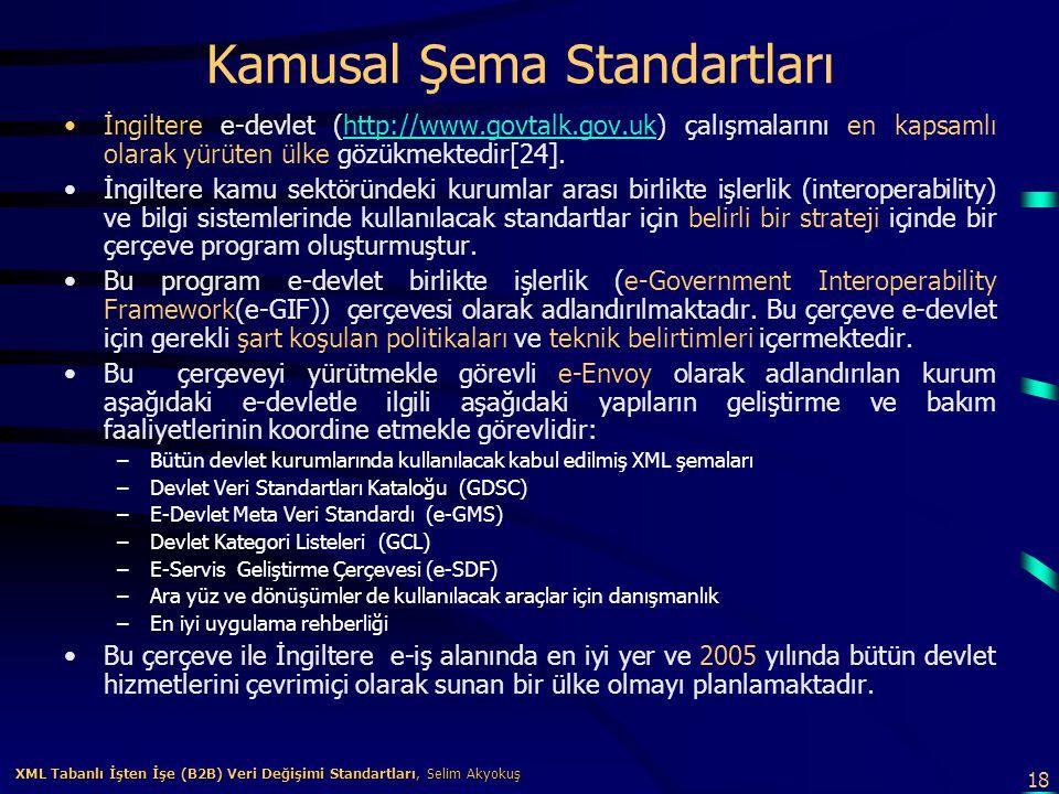 18 XML Tabanlı İşten İşe (B2B) Veri Değişimi Standartları, Selim Akyokuş XML Tabanlı İşten İşe (B2B) Veri Değişimi Standartları, Selim Akyokuş Kamusal