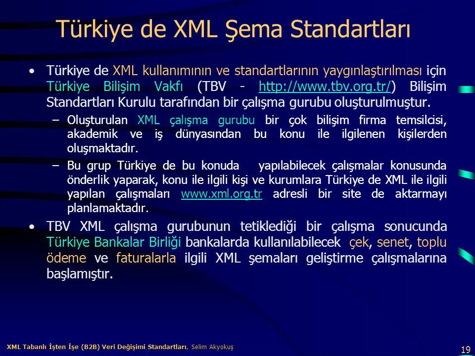 19 XML Tabanlı İşten İşe (B2B) Veri Değişimi Standartları, Selim Akyokuş XML Tabanlı İşten İşe (B2B) Veri Değişimi Standartları, Selim Akyokuş Türkiye