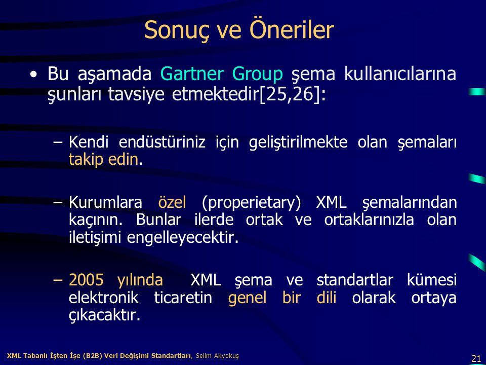 21 XML Tabanlı İşten İşe (B2B) Veri Değişimi Standartları, Selim Akyokuş XML Tabanlı İşten İşe (B2B) Veri Değişimi Standartları, Selim Akyokuş Sonuç v