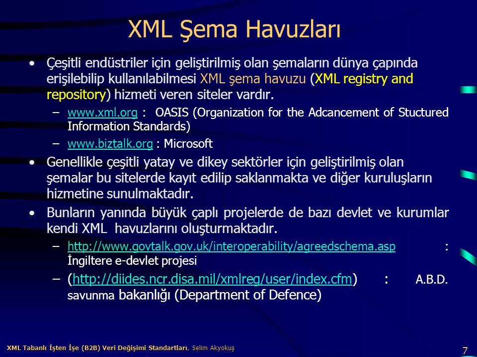 8 XML Tabanlı İşten İşe (B2B) Veri Değişimi Standartları, Selim Akyokuş XML Tabanlı İşten İşe (B2B) Veri Değişimi Standartları, Selim Akyokuş XML Standartları Temel XML Standartları –XML şemalarının ve belgelerinin oluşturulması ve işlenmesi için temel teknik XML standartları World Wide Consortium (W3C) tarafından tanımlanmış ve bu standardlar belirli bir olgunluk seviyesine ulaşmıştır.