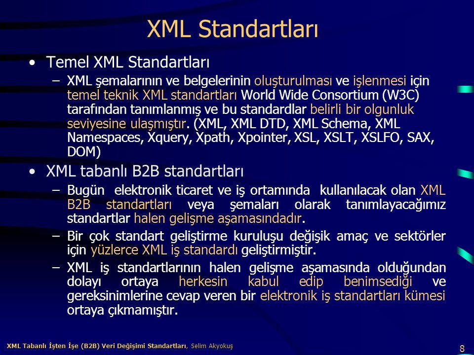 9 XML Tabanlı İşten İşe (B2B) Veri Değişimi Standartları, Selim Akyokuş XML Tabanlı İşten İşe (B2B) Veri Değişimi Standartları, Selim Akyokuş XML tabanlı B2B standartları XML ile ilgili uzmanlardan birisi olan Jon Bosak'a göre XML tabanlı B2B elektronik iş yapısının gerçekleşmesi üç aşamada olacaktır [Temmuz 2001]: 1.Mesajlaşma, arama, bulma ve ortak ticari anlaşma gibi altyapı standartlarının oluşması (B2B frameworks) 2.Satın alma siparişleri ve fatura gibi iş belgelerinin standartlaşması (Yatay ve dikey Şemalar) 3.İş süreç modellerinin veya mantığının standartlaşması Jon Bosak'a göre biz şu anda birinci aşamadayız.