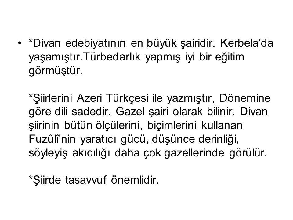 Türkçe divanındaki şiirlerini Azeri lehçesinde yazmıştır. Aynı zamanda Arapça ve Farsça divanlarından bu dilleri de çok iyi bildiği anlaşılmaktadır. F