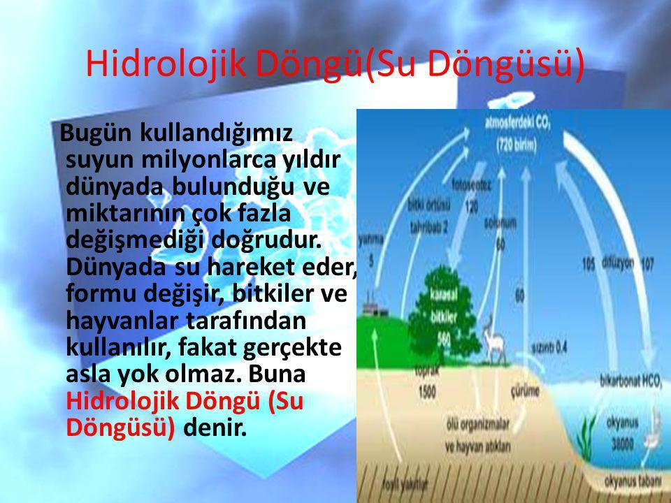 Hidrolojik Döngü(Su Döngüsü) Bugün kullandığımız suyun milyonlarca yıldır dünyada bulunduğu ve miktarının çok fazla değişmediği doğrudur. Dünyada su h