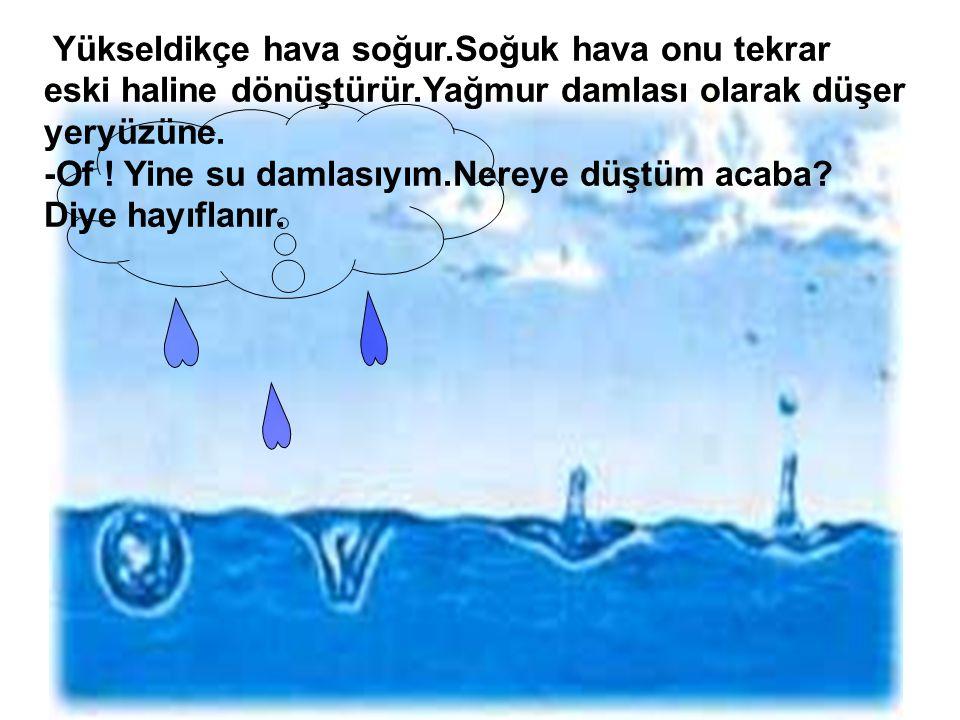 Yükseldikçe hava soğur.Soğuk hava onu tekrar eski haline dönüştürür.Yağmur damlası olarak düşer yeryüzüne.