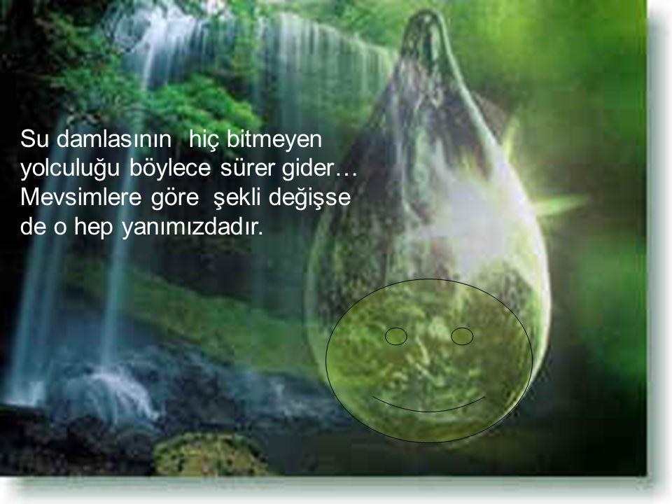 Su damlasının hiç bitmeyen yolculuğu böylece sürer gider… Mevsimlere göre şekli değişse de o hep yanımızdadır.