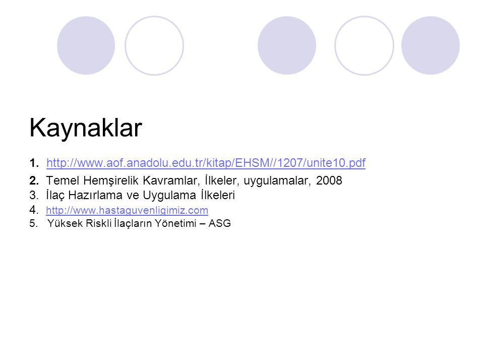 Kaynaklar 1. http://www.aof.anadolu.edu.tr/kitap/EHSM//1207/unite10.pdf 2. Temel Hemşirelik Kavramlar, İlkeler, uygulamalar, 2008 3. İlaç Hazırlama ve