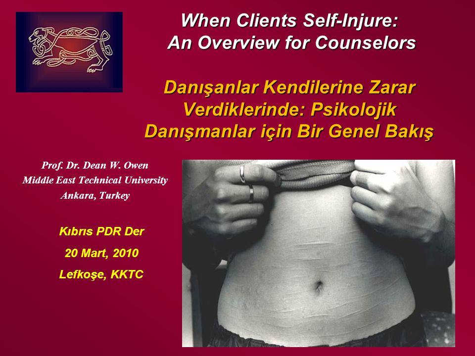 Kıbrıs, 2010 Dual Pathways to Self-Injury: Anxiety/Depression Kendine zarar vermede ikili yol: Kaygı/ depresyon Hyper-stress Aşırı stres Vulnerability, insecurity and hypersensitivity hyper-vigilance Kırılganlık, güvensizlik aşırı duyarlılık Triggering event Tetikleyen olay Self Injury Kendini yaralama Control regained, calmness and sense of relief Kontrolü ele geçirme, sakinlik Return of normal feelings ability to function Normal duygulara dönme, işlevde bulunabilme becerisi Dissociation Bağlantısız hissetme Feelings of being numb, alone, disconnected and alive in a surreal place.