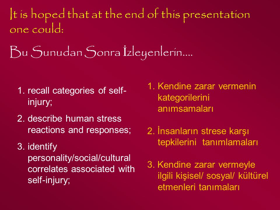It is hoped that at the end of this presentation one could: Bu Sunudan Sonra İ zleyenlerin…. 1.recall categories of self- injury; 2.describe human str