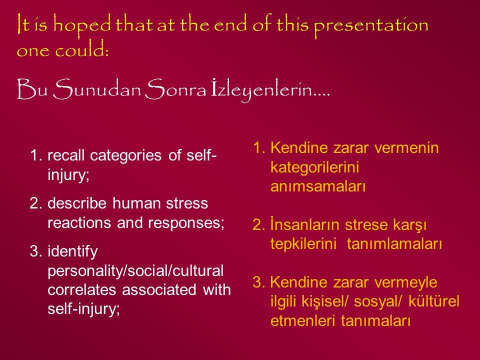 Kıbrıs, 2010 Major SIB Ana /Ciddi KY Most Extreme and Uncommon Castration and Amputation Often seen in psychotic patients (Bowman & Randall, 2005) En uçlarda, en olağan dışı davranışlar Kastrasyon, kesme Sıklıkla psikotiklerde görülür