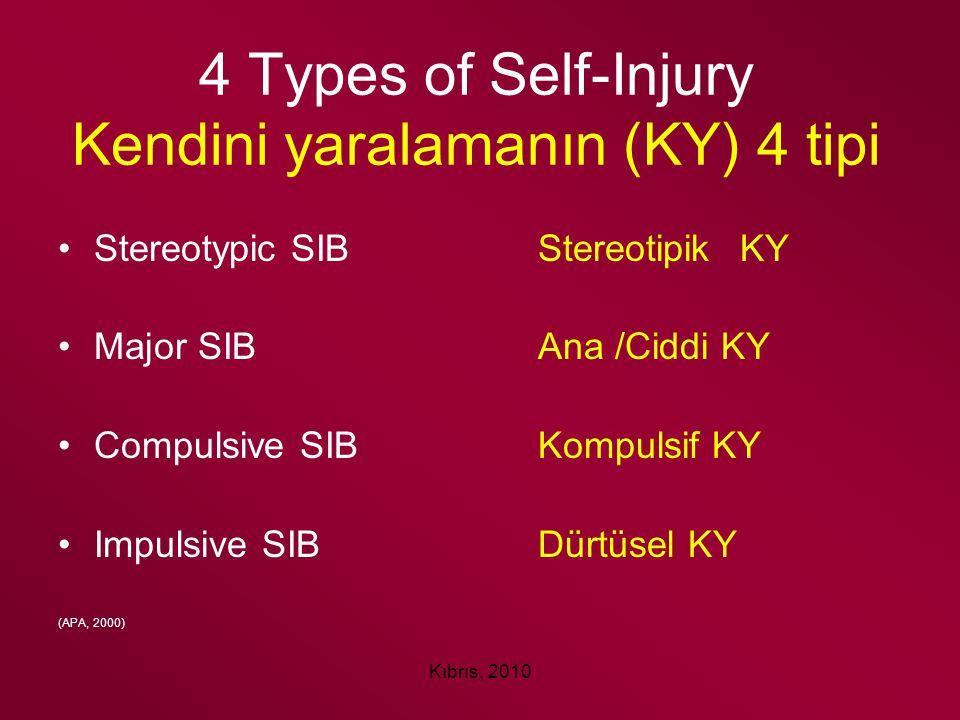 Kıbrıs, 2010 4 Types of Self-Injury Kendini yaralamanın (KY) 4 tipi Stereotypic SIBStereotipik KY Major SIBAna /Ciddi KY Compulsive SIBKompulsif KY Im