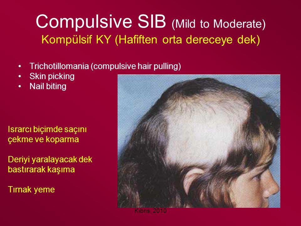Kıbrıs, 2010 Compulsive SIB (Mild to Moderate) Kompülsif KY (Hafiften orta dereceye dek) Trichotillomania (compulsive hair pulling) Skin picking Nail