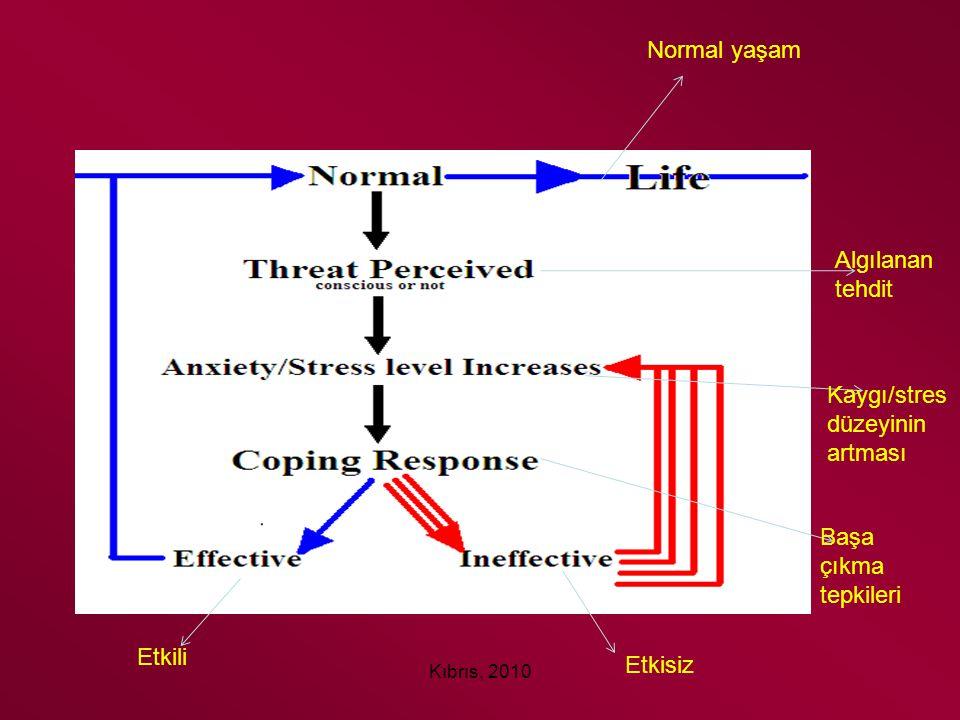 Kıbrıs, 2010 Normal yaşam Algılanan tehdit Kaygı/stres düzeyinin artması Başa çıkma tepkileri Etkili Etkisiz