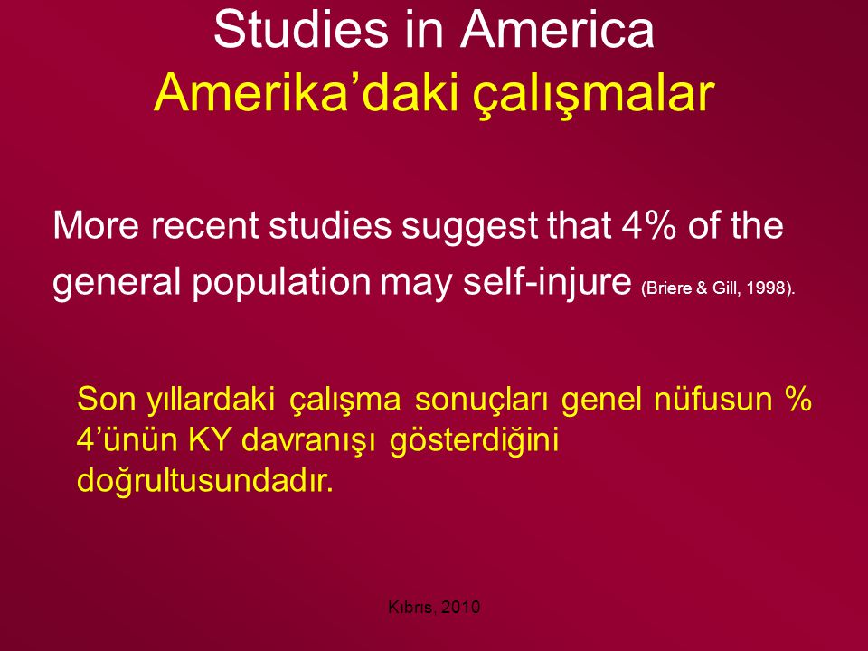 Kıbrıs, 2010 Studies in America Amerika'daki çalışmalar More recent studies suggest that 4% of the general population may self-injure (Briere & Gill,