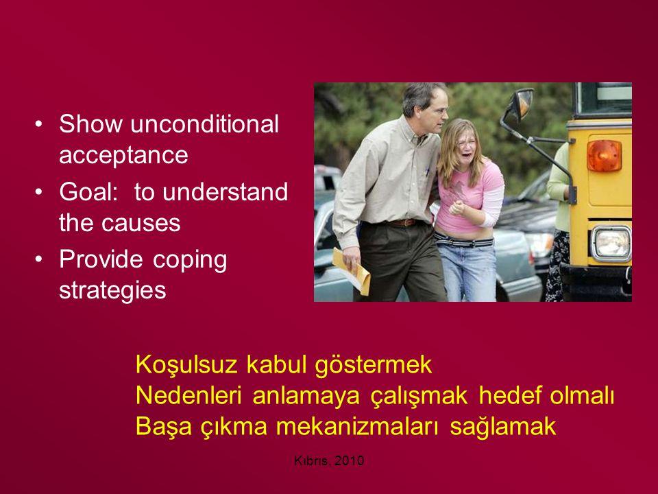 Kıbrıs, 2010 Show unconditional acceptance Goal: to understand the causes Provide coping strategies Koşulsuz kabul göstermek Nedenleri anlamaya çalışm