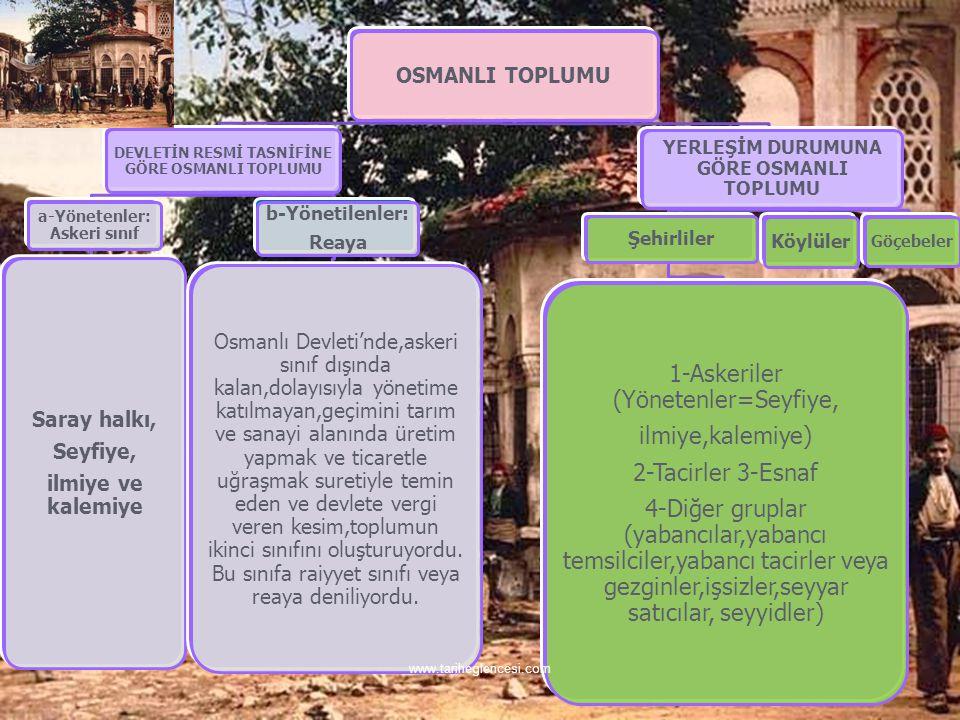 OSMANLI TOPLUMU DEVLETİN RESMİ TASNİFİNE GÖRE OSMANLI TOPLUMU a-Yönetenler: Askeri sınıf Saray halkı, Seyfiye, ilmiye ve kalemiye b-Yönetilenler: Reaya Osmanlı Devleti'nde,askeri sınıf dışında kalan,dolayısıyla yönetime katılmayan,geçimini tarım ve sanayi alanında üretim yapmak ve ticaretle uğraşmak suretiyle temin eden ve devlete vergi veren kesim,toplumun ikinci sınıfını oluşturuyordu.
