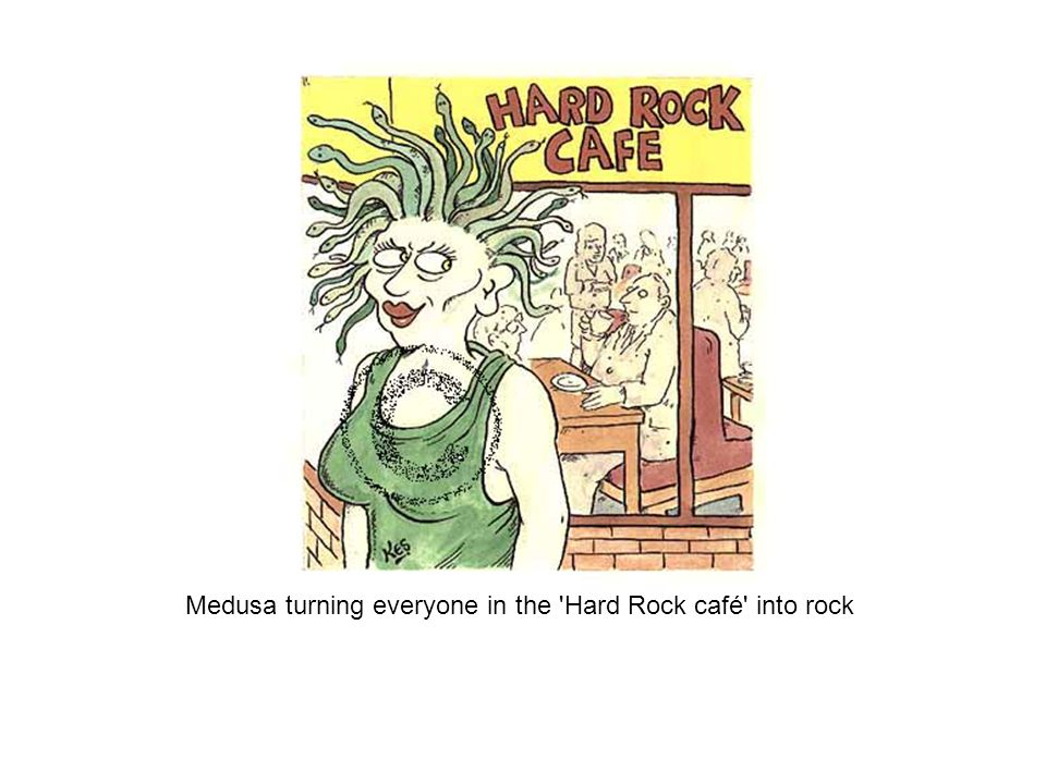 Medusa turning everyone in the 'Hard Rock café' into rock