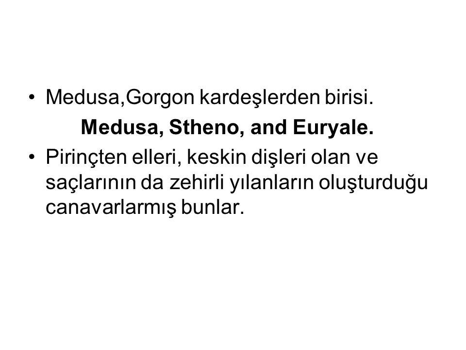 Medusa,Gorgon kardeşlerden birisi. Medusa, Stheno, and Euryale. Pirinçten elleri, keskin dişleri olan ve saçlarının da zehirli yılanların oluşturduğu