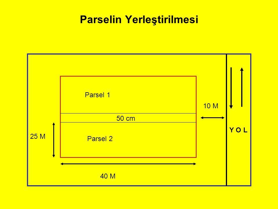 Parselin Yerleştirilmesi Parsel 1 Parsel 2 Y O L 40 M 25 M 10 M 50 cm