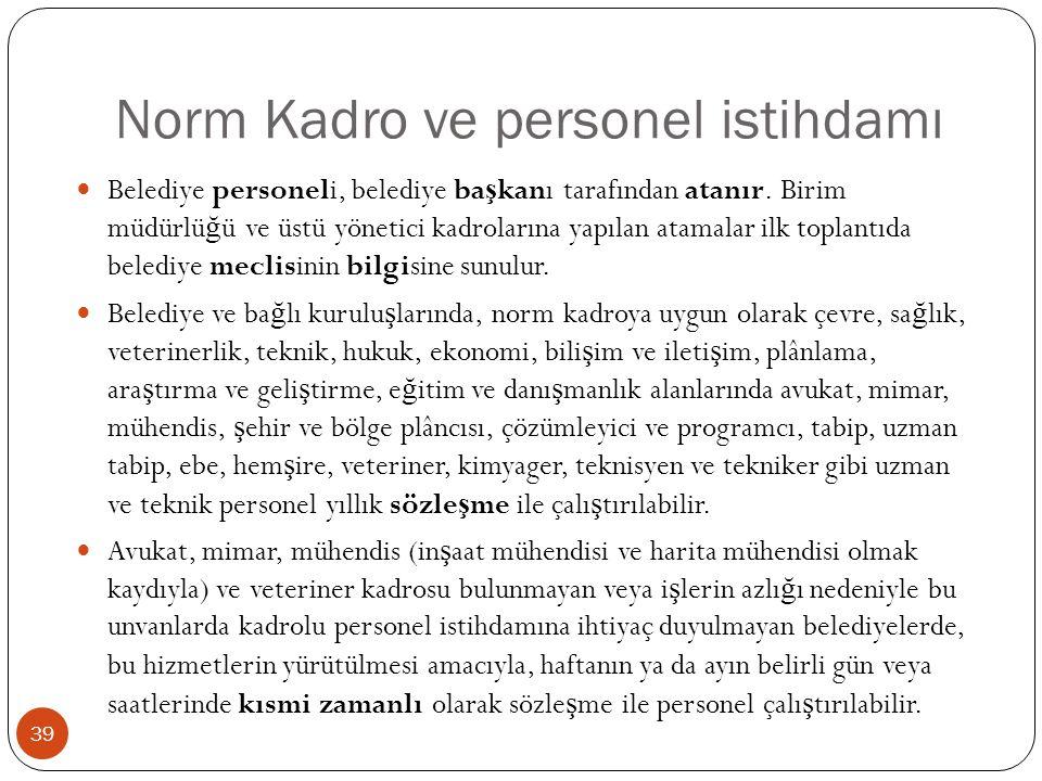 Norm Kadro ve personel istihdamı Belediye personeli, belediye ba ş kanı tarafından atanır. Birim müdürlü ğ ü ve üstü yönetici kadrolarına yapılan atam