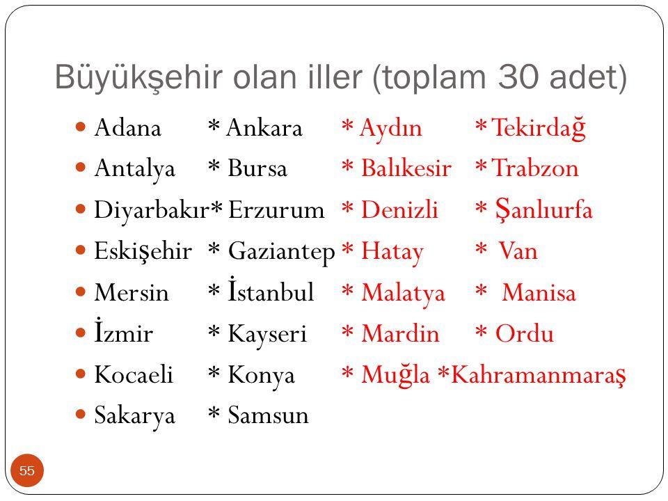 Büyükşehir olan iller (toplam 30 adet) Adana* Ankara * Aydın* Tekirda ğ Antalya* Bursa* Balıkesir* Trabzon Diyarbakır* Erzurum* Denizli* Ş anlıurfa Es