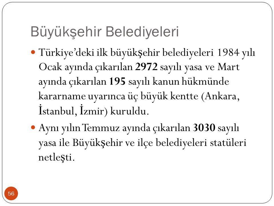 Büyükşehir Belediyeleri Türkiye'deki ilk büyük ş ehir belediyeleri 1984 yılı Ocak ayında çıkarılan 2972 sayılı yasa ve Mart ayında çıkarılan 195 sayıl