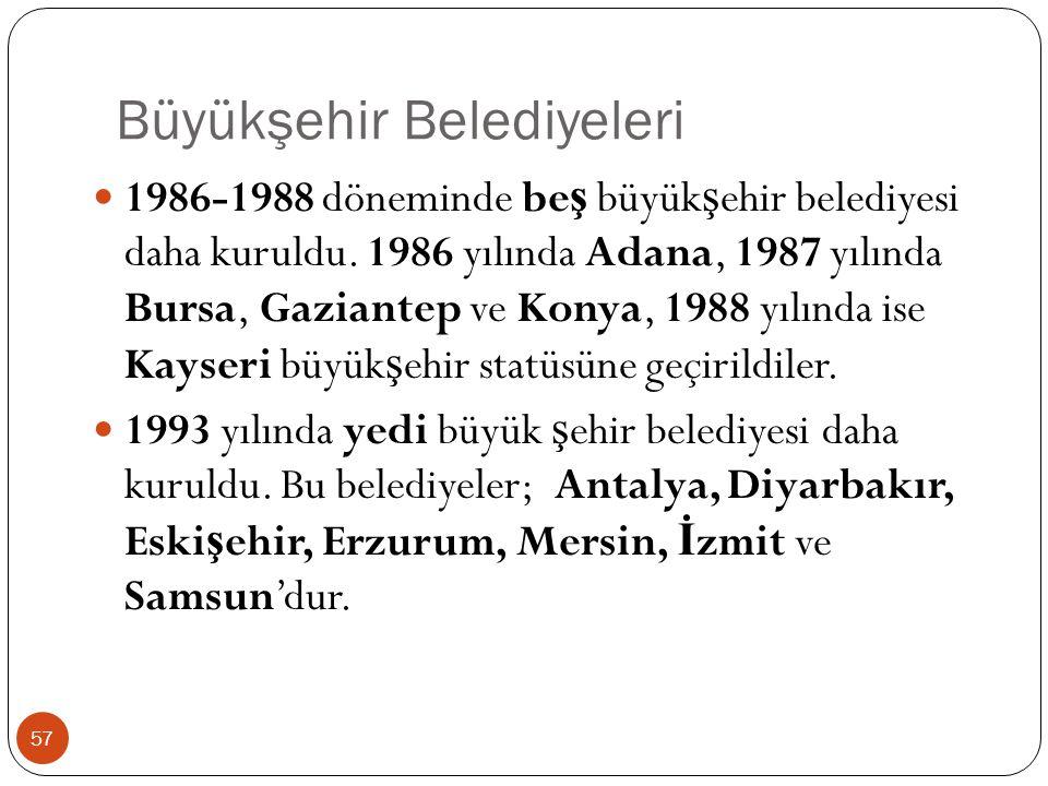 Büyükşehir Belediyeleri 1986-1988 döneminde be ş büyük ş ehir belediyesi daha kuruldu. 1986 yılında Adana, 1987 yılında Bursa, Gaziantep ve Konya, 198