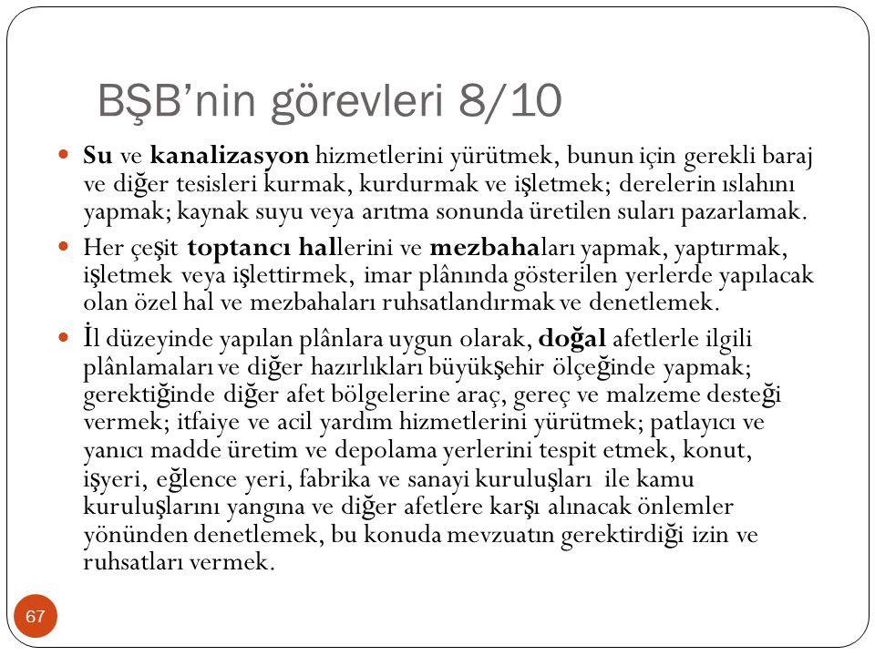 BŞB'nin görevleri 8/10 Su ve kanalizasyon hizmetlerini yürütmek, bunun için gerekli baraj ve di ğ er tesisleri kurmak, kurdurmak ve i ş letmek; derele