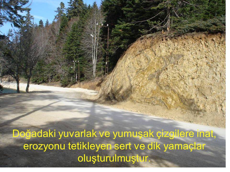 Doğadaki yuvarlak ve yumuşak çizgilere inat, erozyonu tetikleyen sert ve dik yamaçlar oluşturulmuştur.
