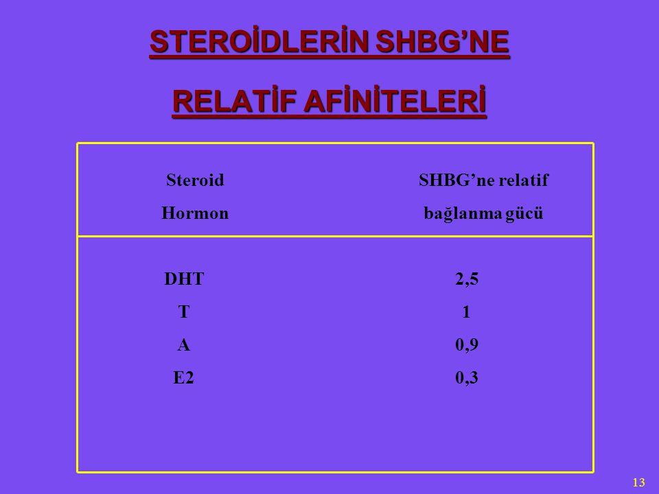 13 STEROİDLERİN SHBG'NE RELATİF AFİNİTELERİ Steroid Hormon SHBG'ne relatif bağlanma gücü DHT T A E2 2,5 1 0,9 0,3