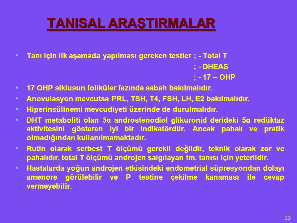 23 TANISAL ARAŞTIRMALAR Tanı için ilk aşamada yapılması gereken testler; - Total T ; - DHEAS ; - 17 – OHP 17 OHP siklusun foliküler fazında sabah bakılmalıdır.
