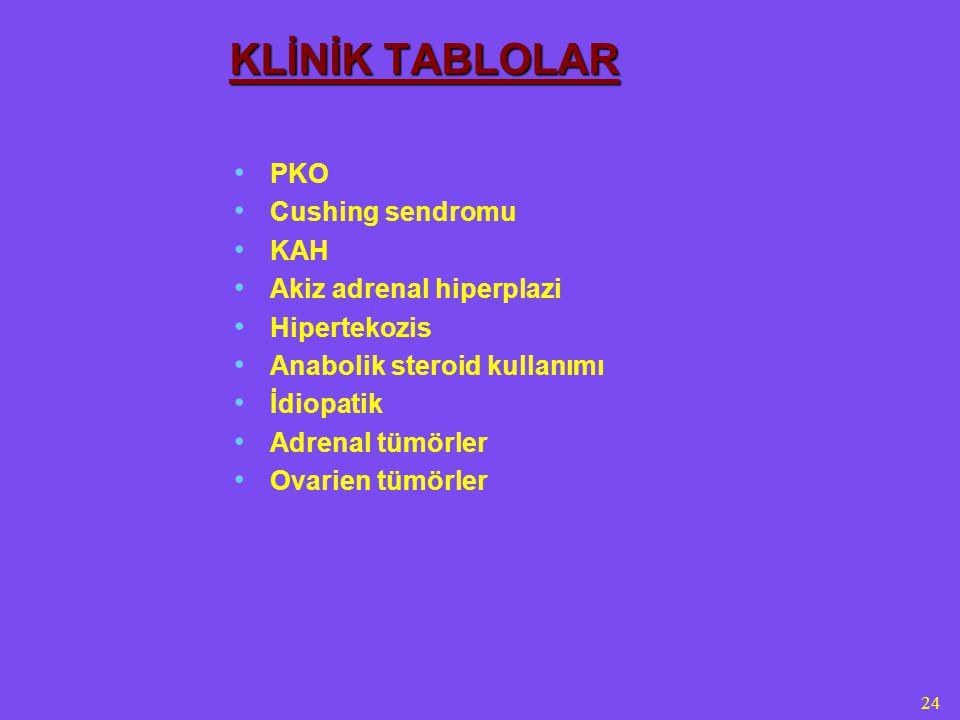 24 KLİNİK TABLOLAR PKO Cushing sendromu KAH Akiz adrenal hiperplazi Hipertekozis Anabolik steroid kullanımı İdiopatik Adrenal tümörler Ovarien tümörler