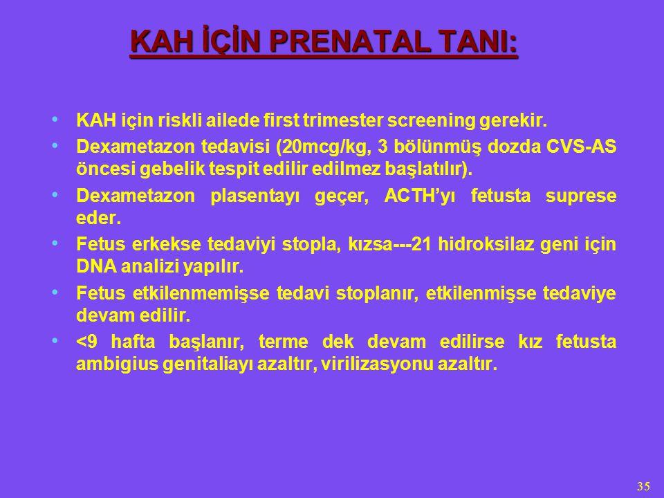 35 KAH İÇİN PRENATAL TANI: KAH için riskli ailede first trimester screening gerekir. Dexametazon tedavisi (20mcg/kg, 3 bölünmüş dozda CVS-AS öncesi ge