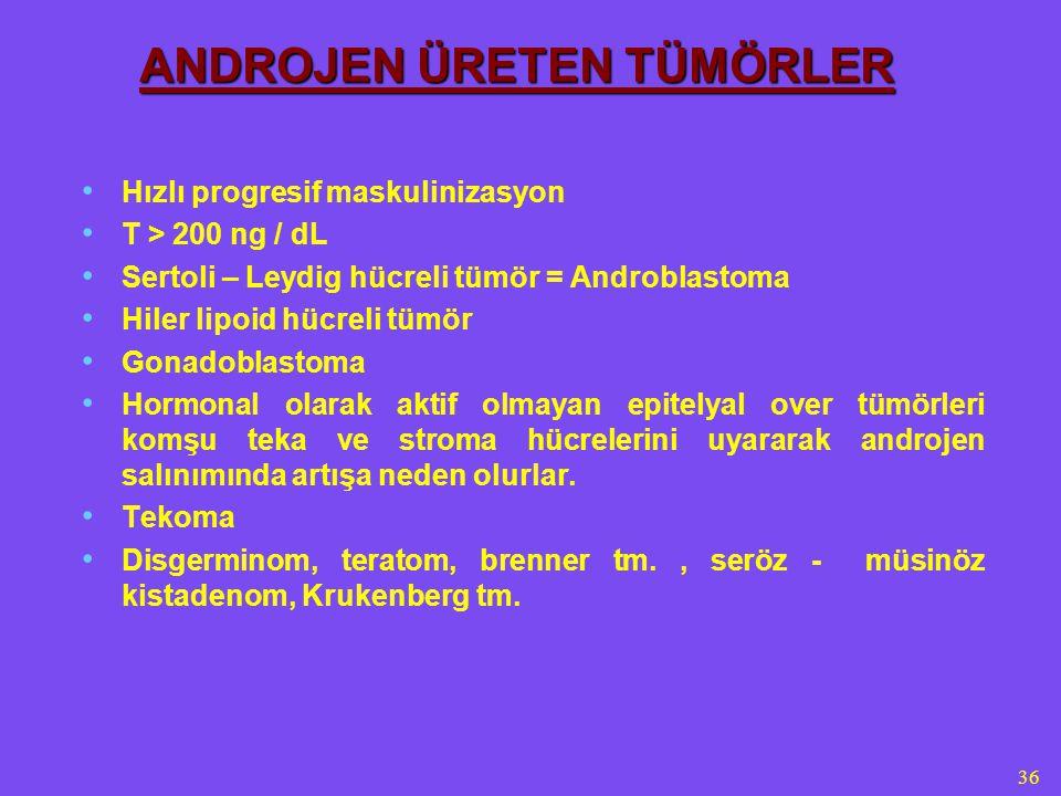 36 ANDROJEN ÜRETEN TÜMÖRLER Hızlı progresif maskulinizasyon T > 200 ng / dL Sertoli – Leydig hücreli tümör = Androblastoma Hiler lipoid hücreli tümör Gonadoblastoma Hormonal olarak aktif olmayan epitelyal over tümörleri komşu teka ve stroma hücrelerini uyararak androjen salınımında artışa neden olurlar.