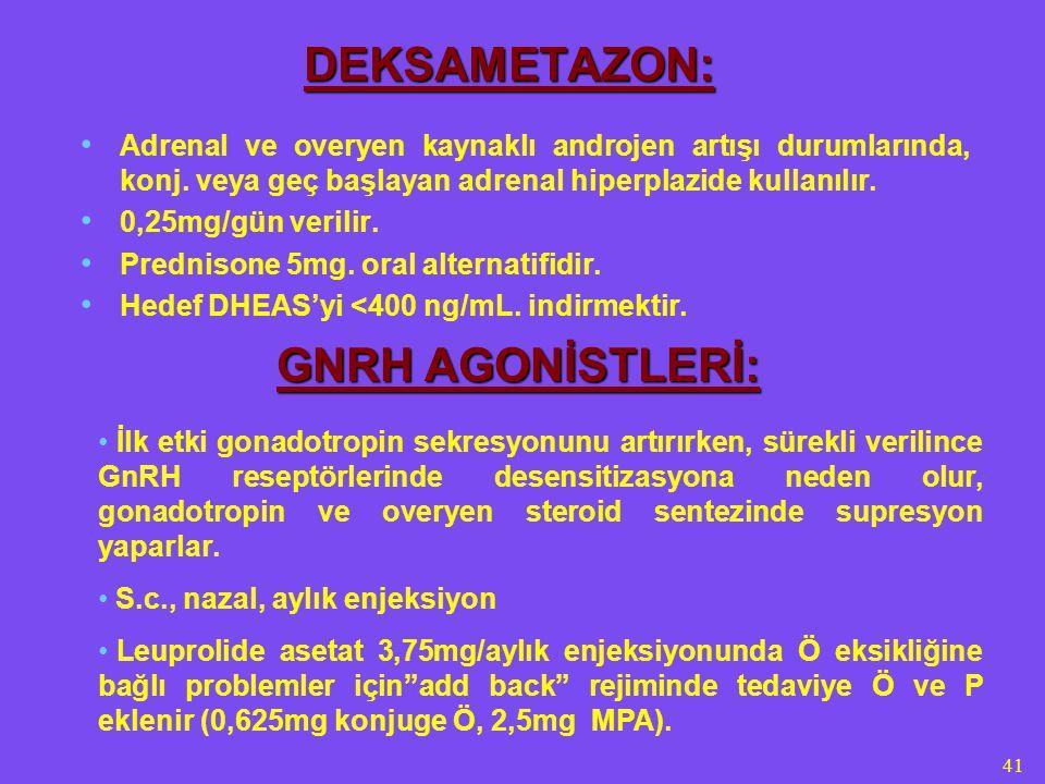 41 DEKSAMETAZON: Adrenal ve overyen kaynaklı androjen artışı durumlarında, konj. veya geç başlayan adrenal hiperplazide kullanılır. 0,25mg/gün verilir
