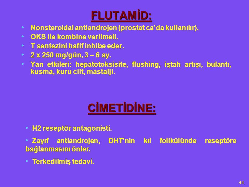 44 FLUTAMİD: Nonsteroidal antiandrojen (prostat ca'da kullanılır). OKS ile kombine verilmeli. T sentezini hafif inhibe eder. 2 x 250 mg/gün, 3 – 6 ay.