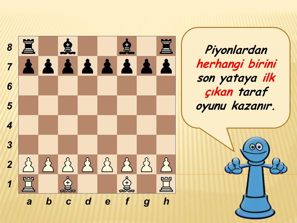 Piyonlardan herhangi birini son yataya ilk çıkan taraf oyunu kazanır. abcdefgh 8 7 6 5 4 3 2 1