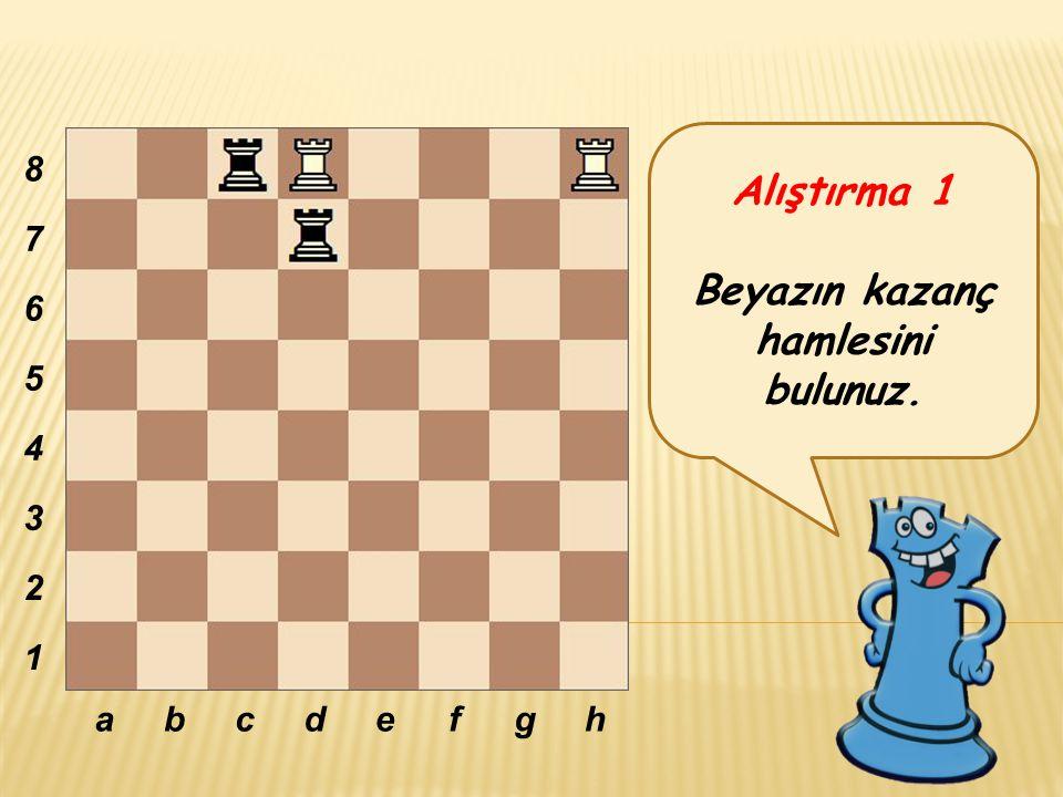 Alıştırma 1 Beyazın kazanç hamlesini bulunuz. abcdefgh 8 7 6 5 4 3 2 1