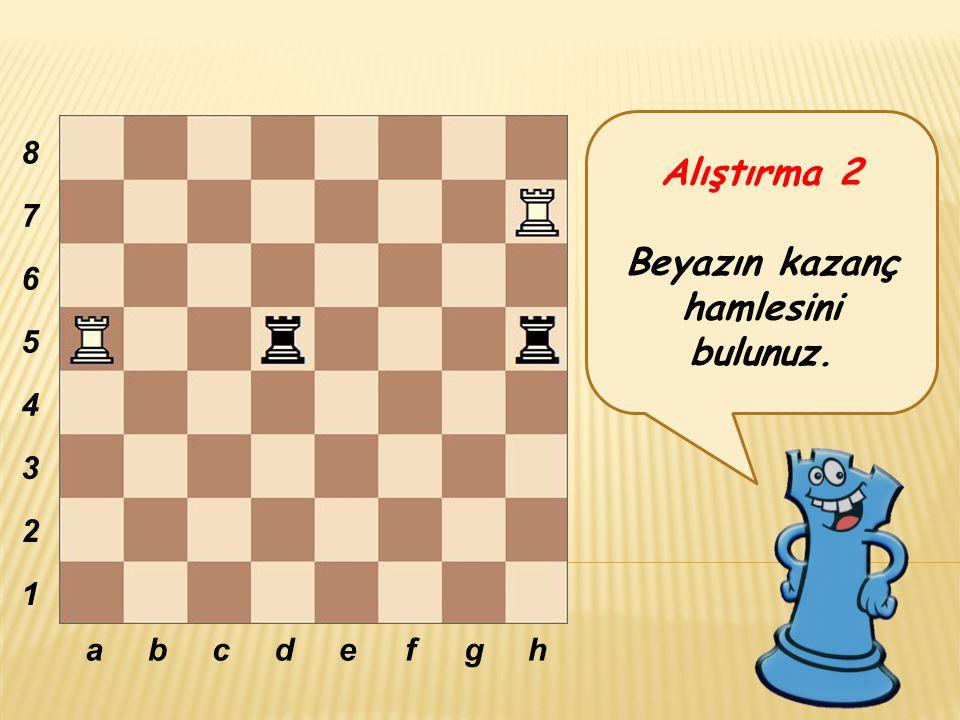 Alıştırma 2 Beyazın kazanç hamlesini bulunuz. abcdefgh 8 7 6 5 4 3 2 1