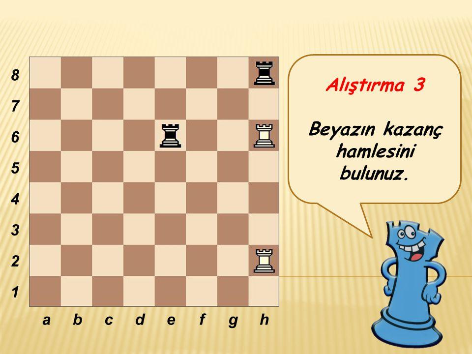 Alıştırma 3 Beyazın kazanç hamlesini bulunuz. abcdefgh 8 7 6 5 4 3 2 1