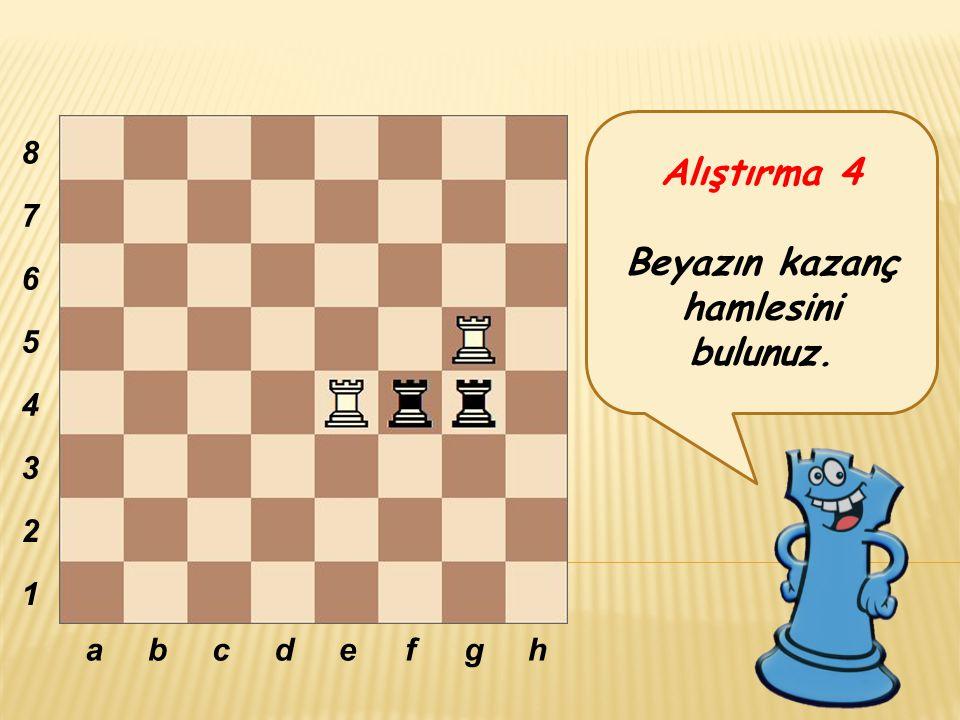 Alıştırma 4 Beyazın kazanç hamlesini bulunuz. abcdefgh 8 7 6 5 4 3 2 1