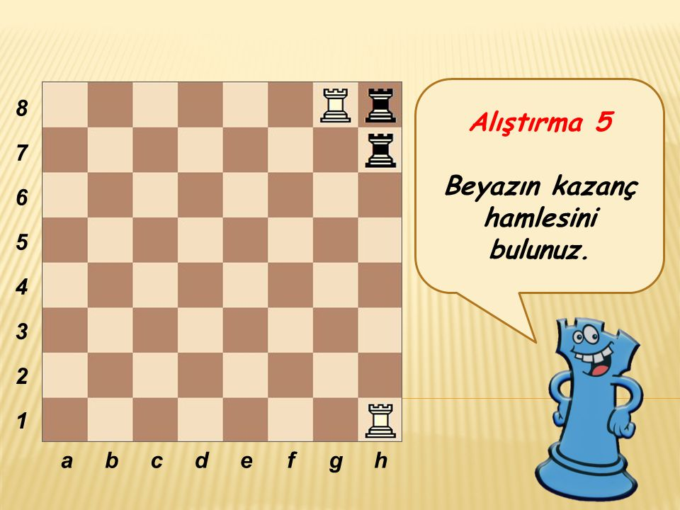 Alıştırma 5 Beyazın kazanç hamlesini bulunuz. abcdefgh 8 7 6 5 4 3 2 1