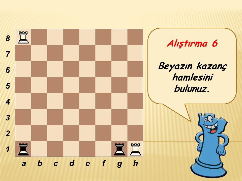 Alıştırma 6 Beyazın kazanç hamlesini bulunuz. abcdefgh 8 7 6 5 4 3 2 1