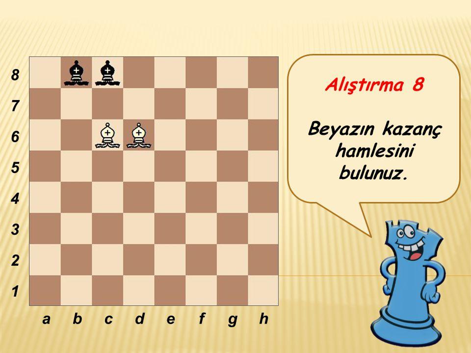Alıştırma 8 Beyazın kazanç hamlesini bulunuz. abcdefgh 8 7 6 5 4 3 2 1