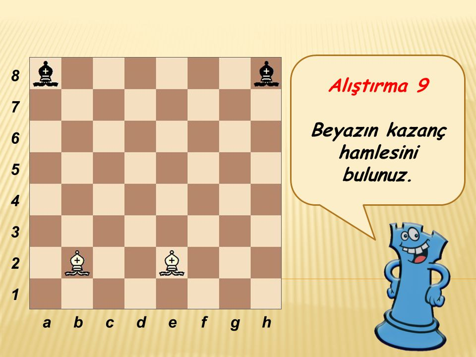 Alıştırma 9 Beyazın kazanç hamlesini bulunuz. abcdefgh 8 7 6 5 4 3 2 1