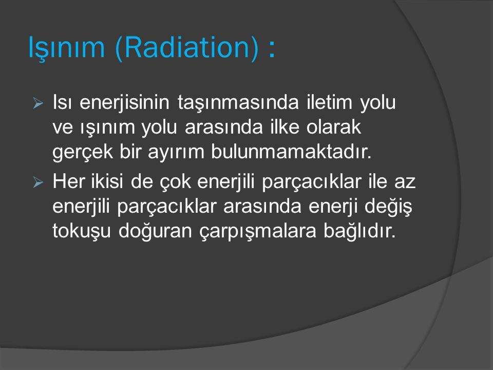 Işınım (Radiation) :  Isı enerjisinin taşınmasında iletim yolu ve ışınım yolu arasında ilke olarak gerçek bir ayırım bulunmamaktadır.  Her ikisi de