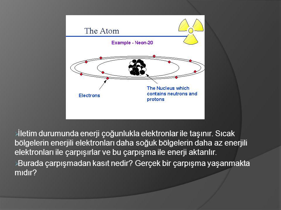  İletim durumunda enerji çoğunlukla elektronlar ile taşınır. Sıcak bölgelerin enerjili elektronları daha soğuk bölgelerin daha az enerjili elektronla