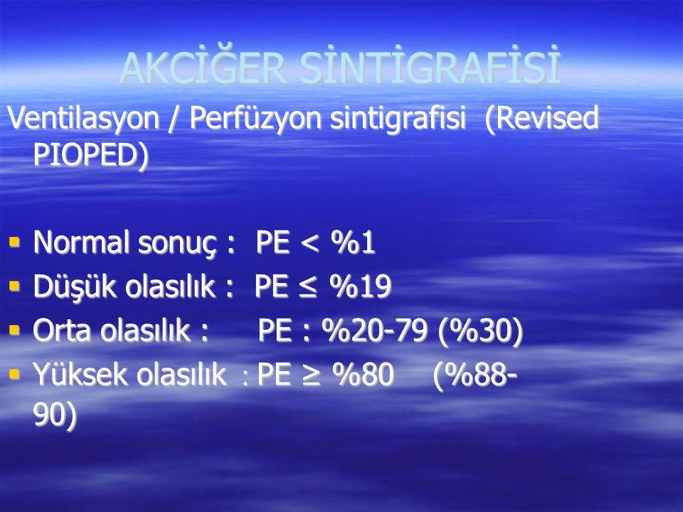 AKCİĞER SİNTİGRAFİSİ Ventilasyon / Perfüzyon sintigrafisi (Revised PIOPED)  Normal sonuç : PE < %1  Düşük olasılık : PE ≤ %19  Orta olasılık : PE :
